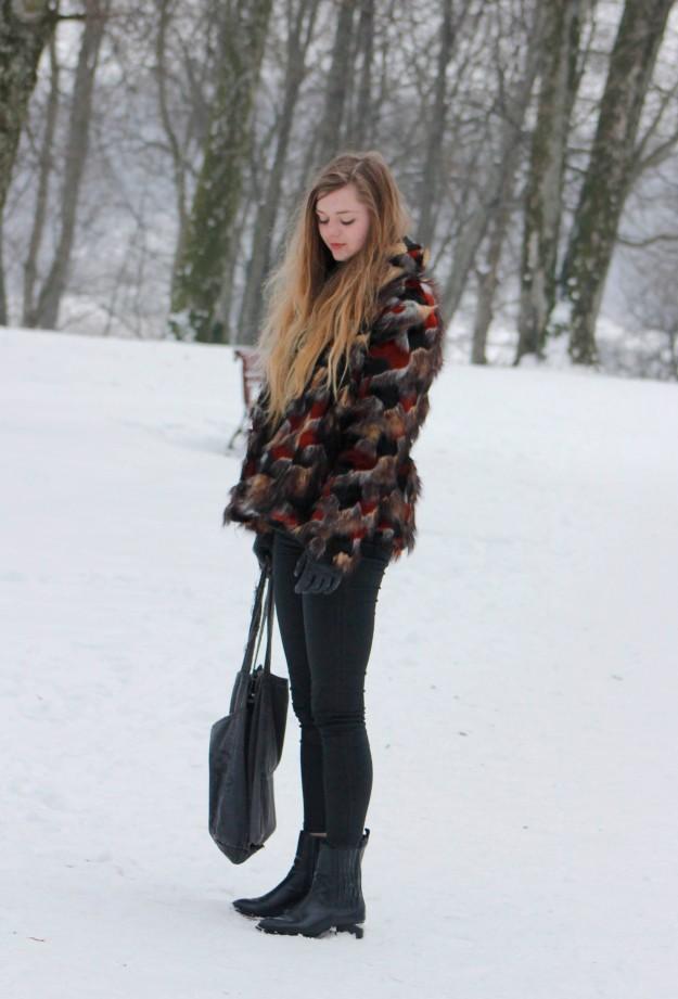 asos multi color faux fur coat
