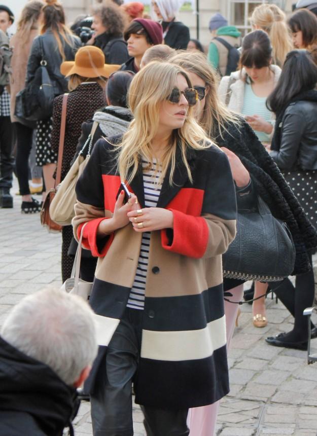 color block coat scandinavian style street london fashion week