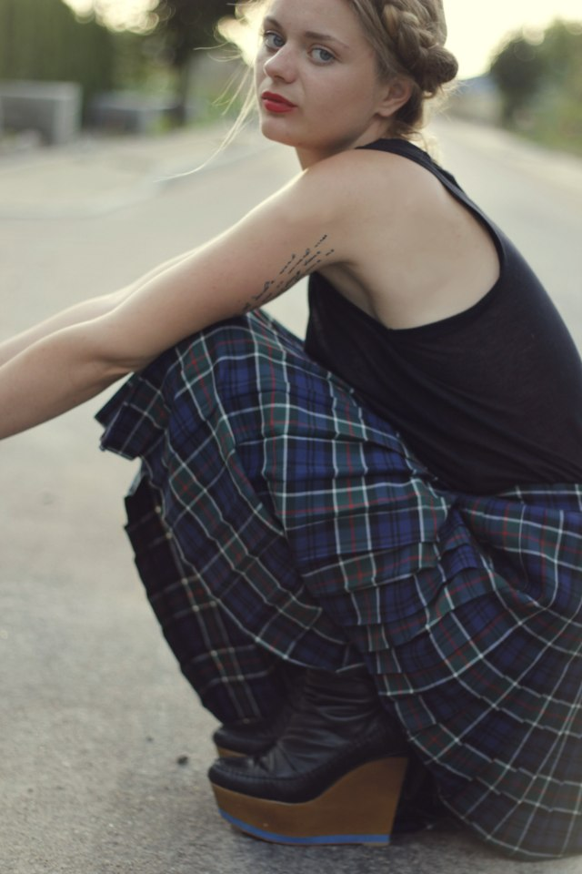 finsk wedges tartan skirt