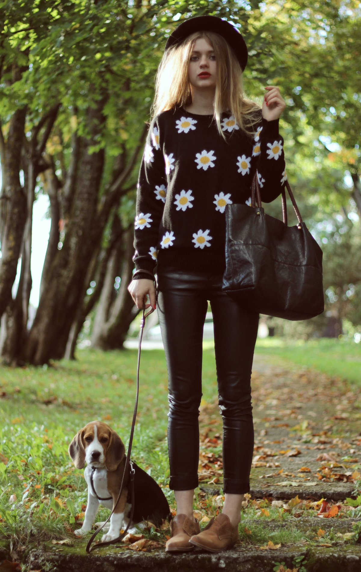 daisy print black sweater