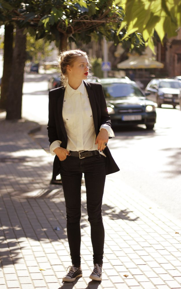 zara blazer long black street style