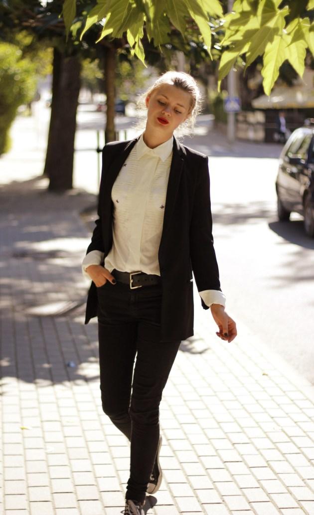 zara blazer outfit hm trousers