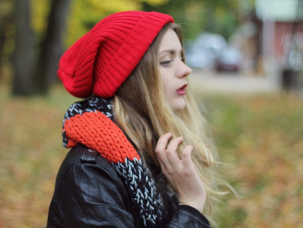 cute red asos oversized beanie