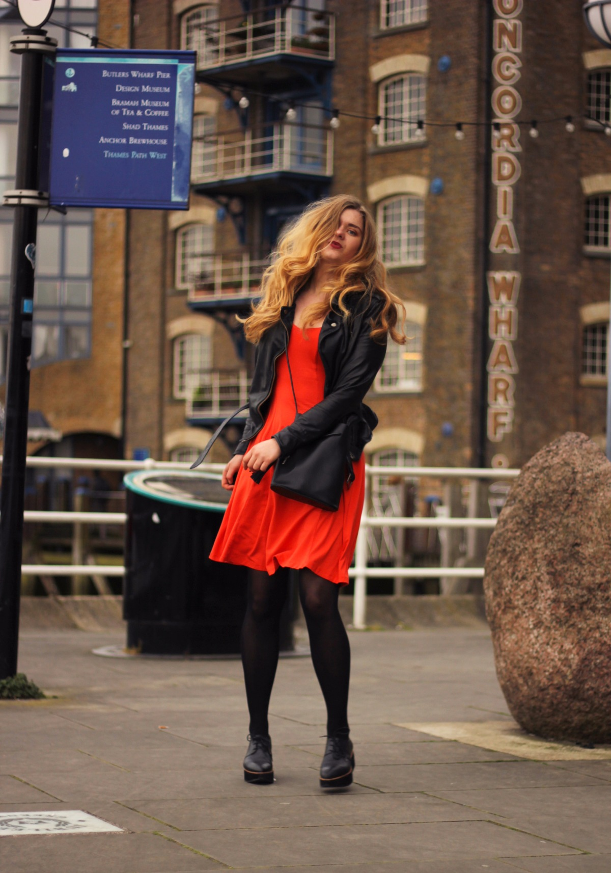 red dres street style london